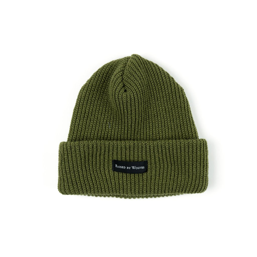 RAISED BY WOLVES TOQUES OLIVE O/S WAFFLE KNIT WATCH CAP