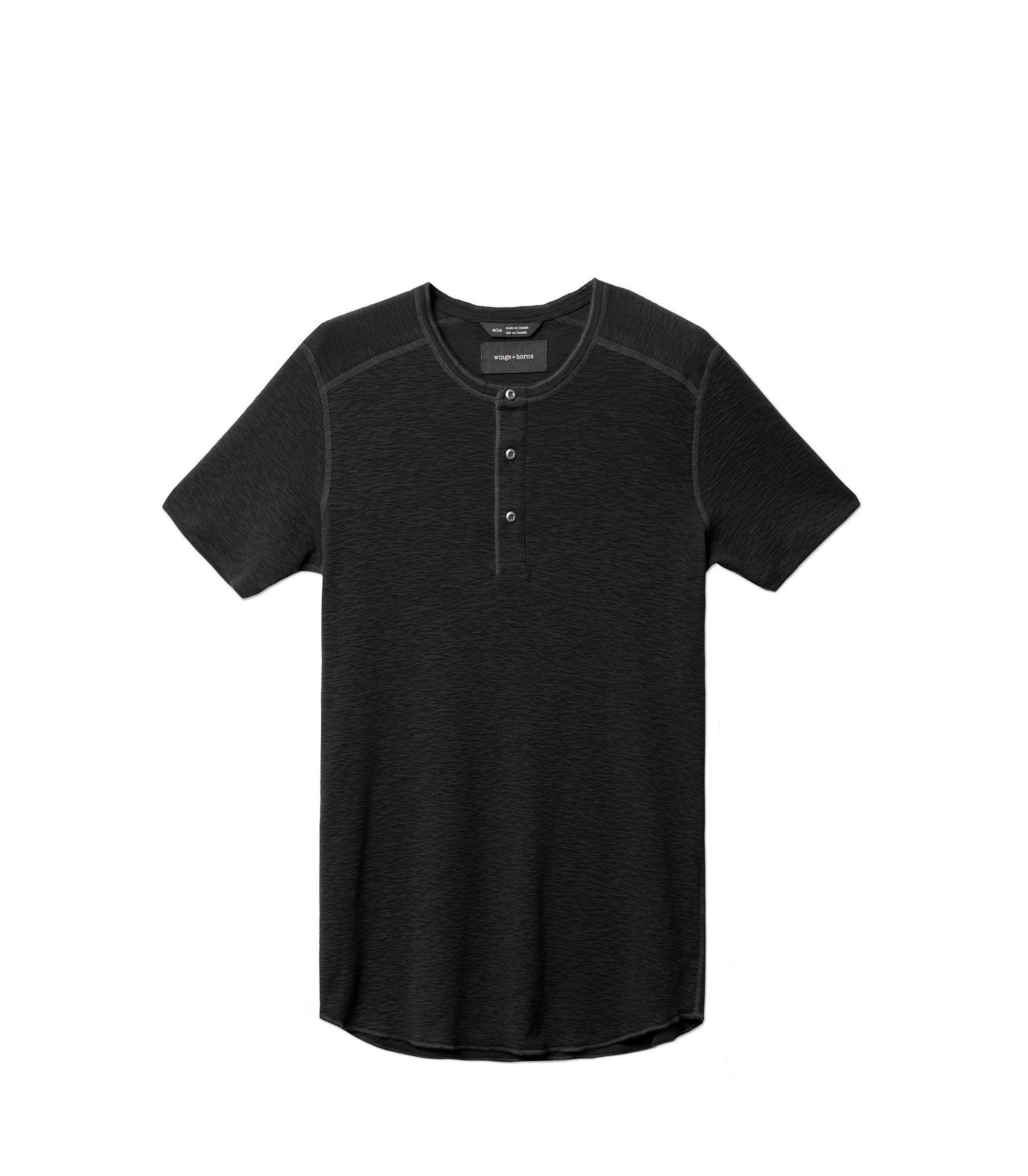 WINGS + HORNS M'S T-SHIRTS Blk XL BASE S/S HENLEY