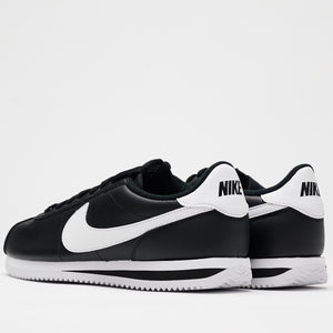 CORTEZ BASIC LEATHER - BLACK/WHITE-METALLIC SILVER