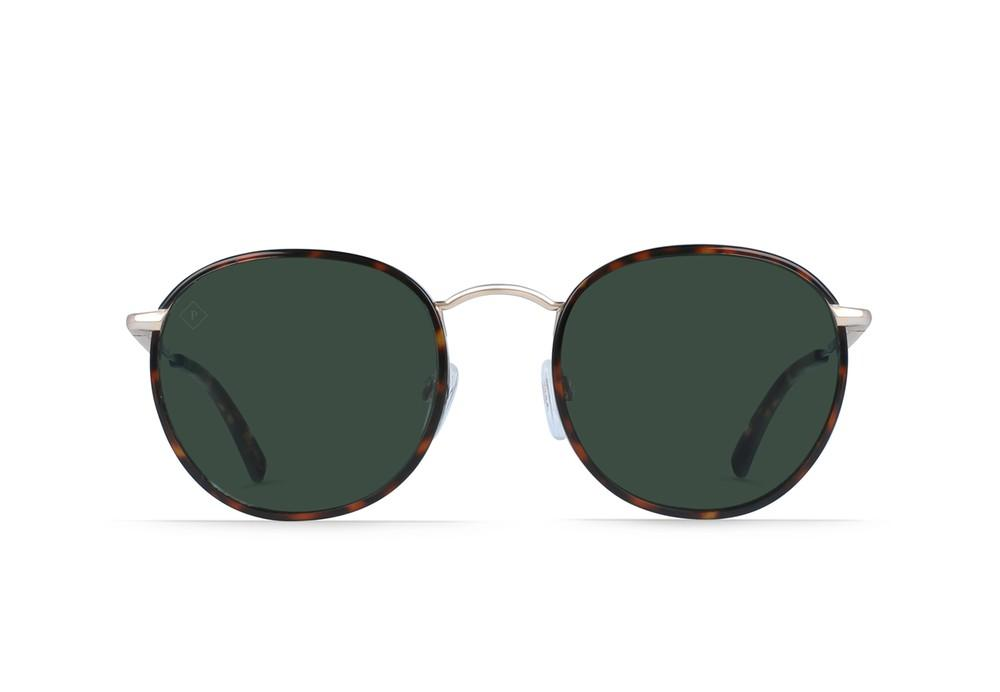 MASON SUNGLASSES BRINDLE TORTOISE + JAPANESE GOLD / GREEN POLARIZED