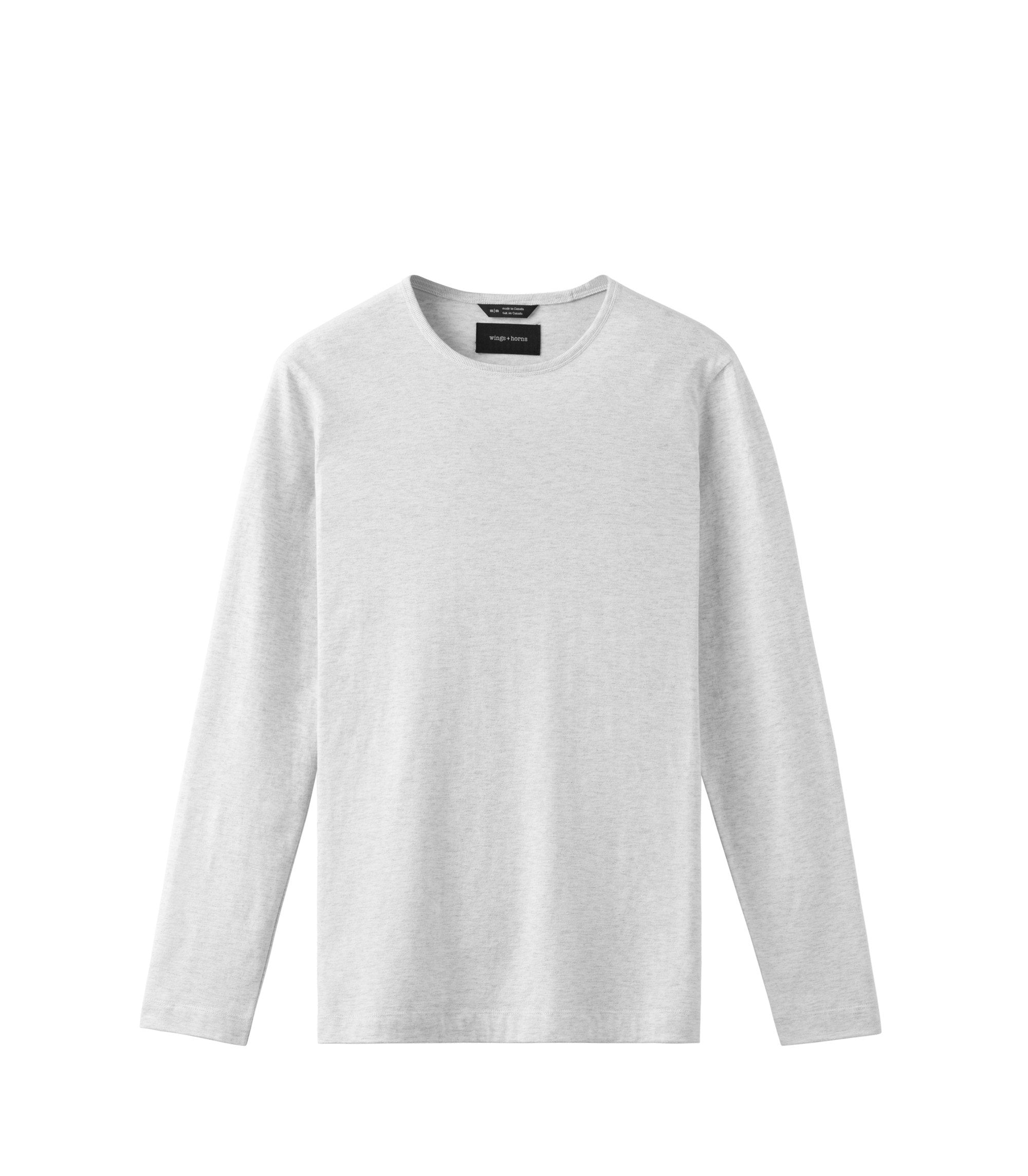 WINGS + HORNS M'S SHIRTS Wht S PIMA JERSEY LONG SLEEVE