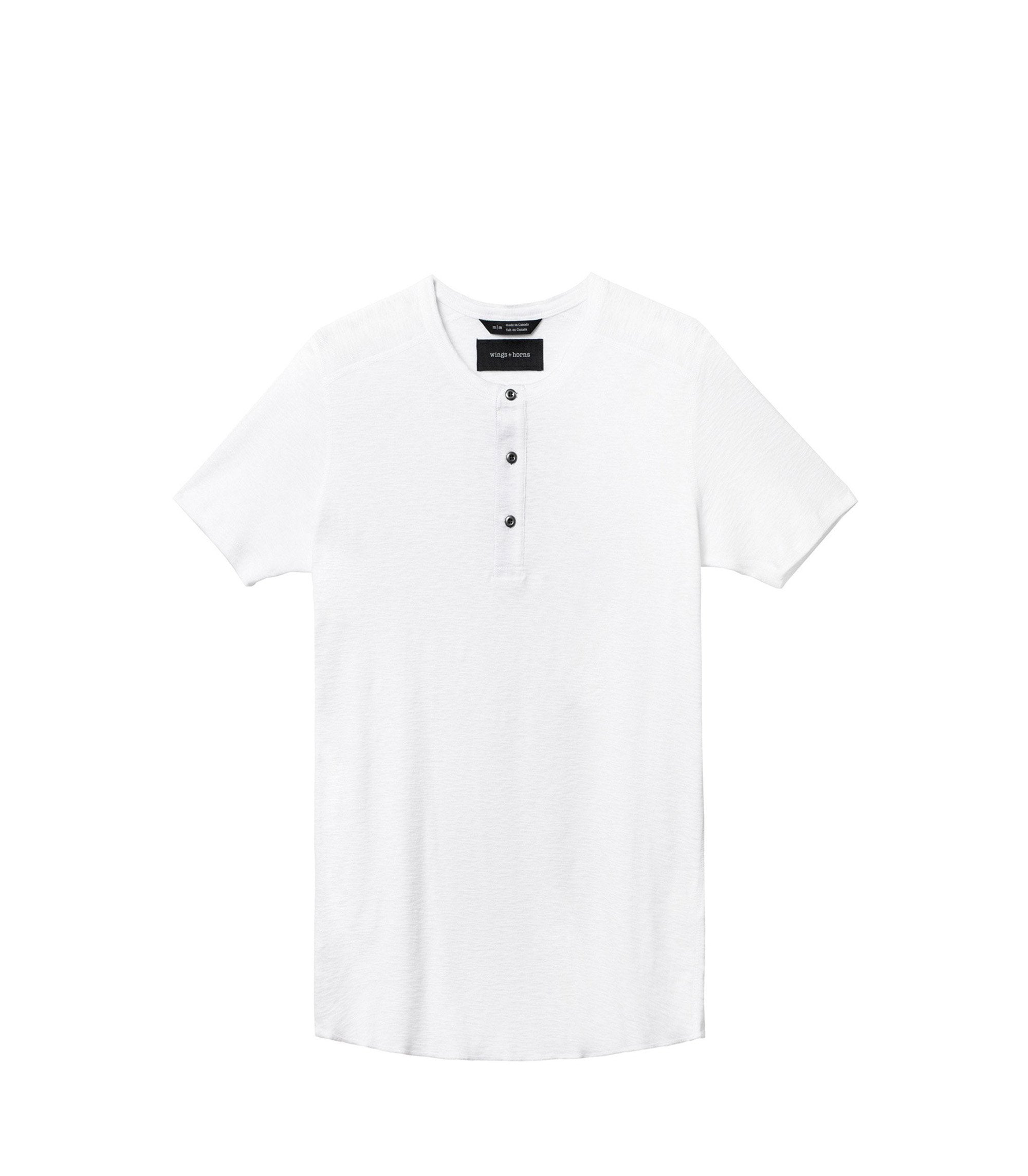 WINGS + HORNS M'S T-SHIRTS Wht XXL BASE S/S HENLEY