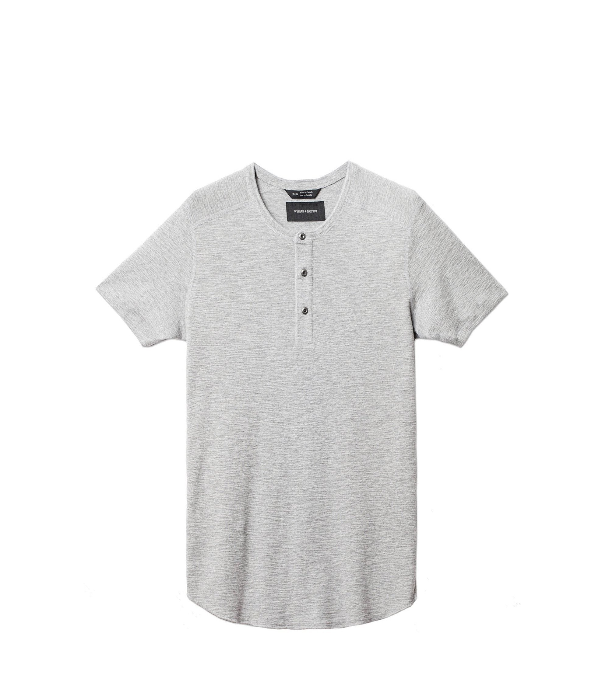 WINGS + HORNS M'S T-SHIRTS Gry L BASE S/S HENLEY