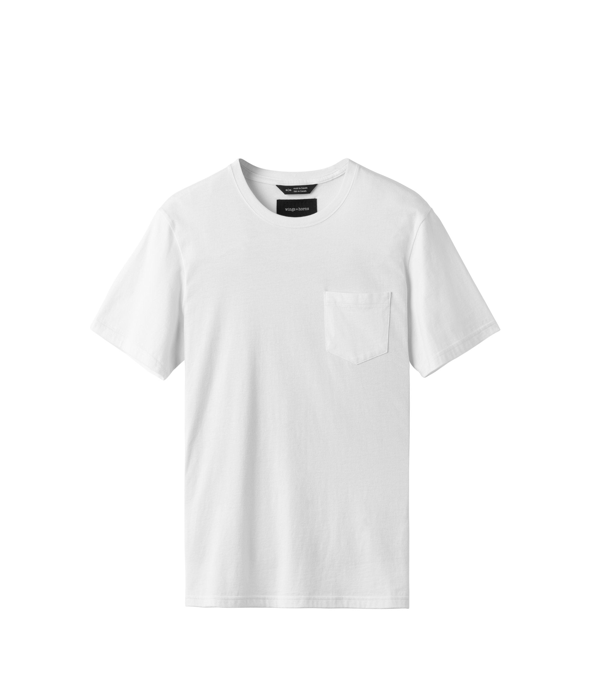 WINGS + HORNS M'S T-SHIRTS WHITE S ORIGINAL POCKET T-SHIRT