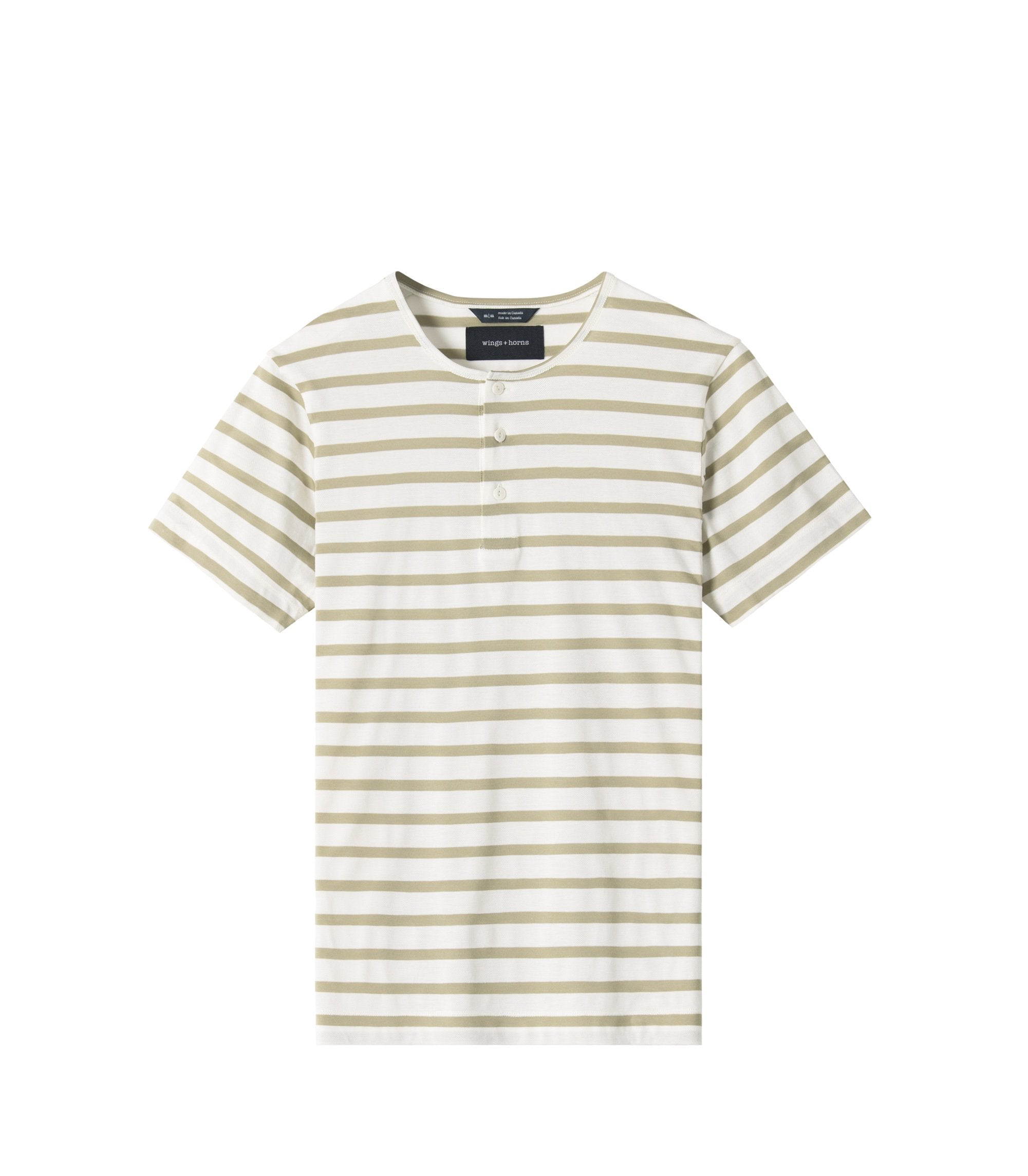 WINGS + HORNS M'S T-SHIRTS DUAL KNIT HENLEY