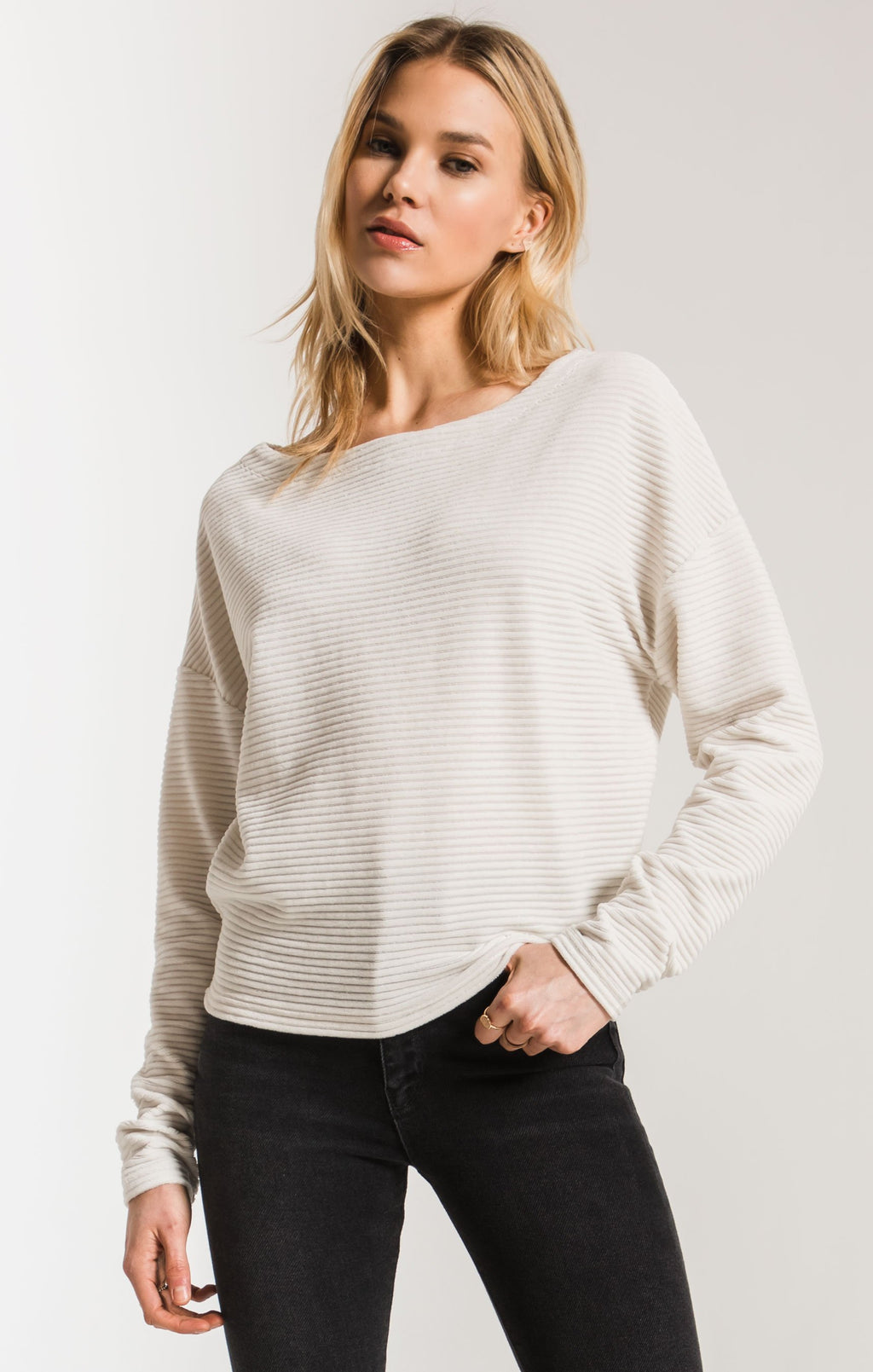 THE KNIT CORDUROY BOAT NECK TOP