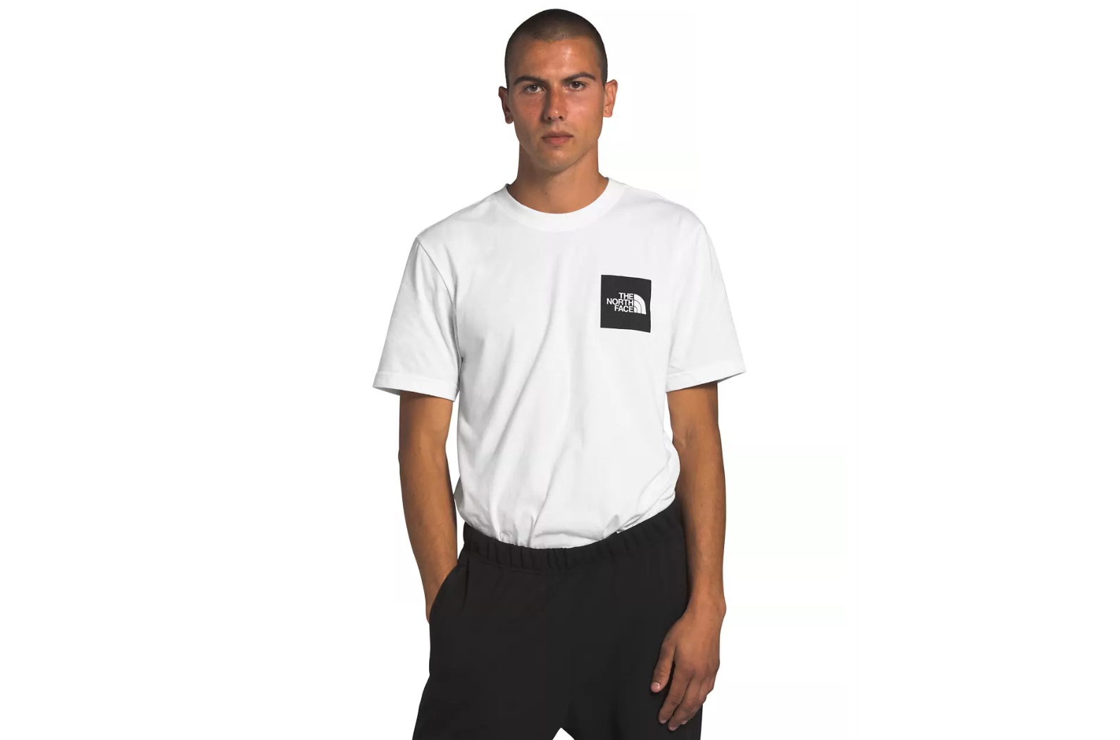 THE NORTH FACE M'S T-SHIRTS WHITE/BLACK S SHORT SLEEVE NEW BOX COTTON TEE