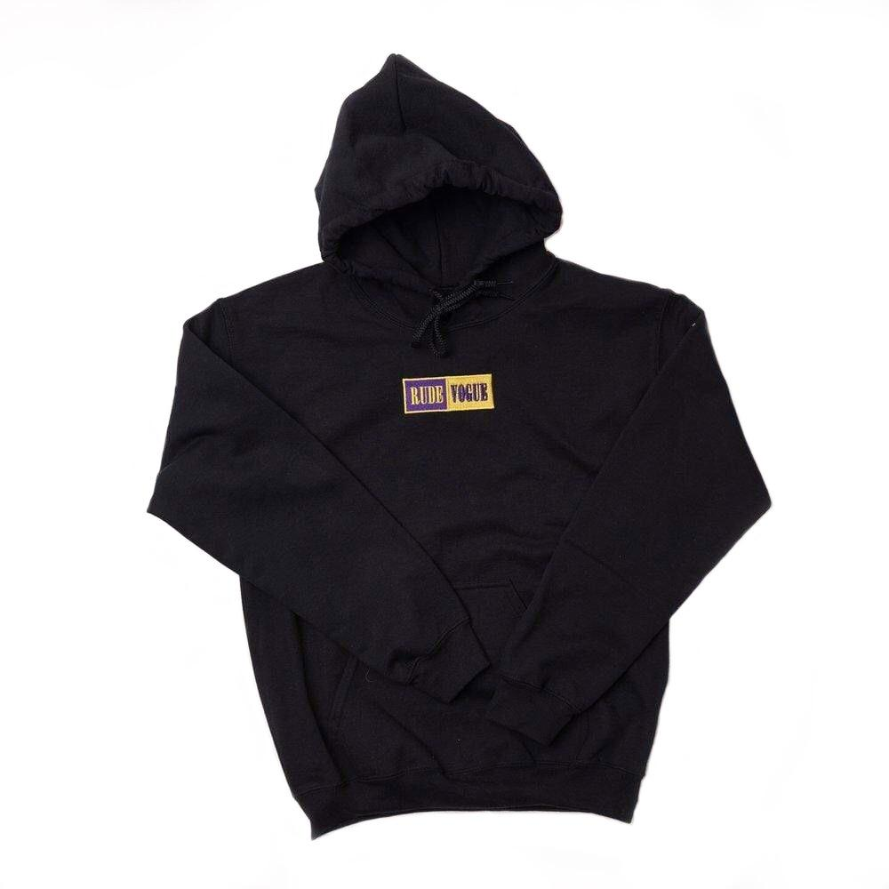 RUDE VOGUE M'S HOODIES WARM UP HOODIE - BLACK/PURPLE/GOLD