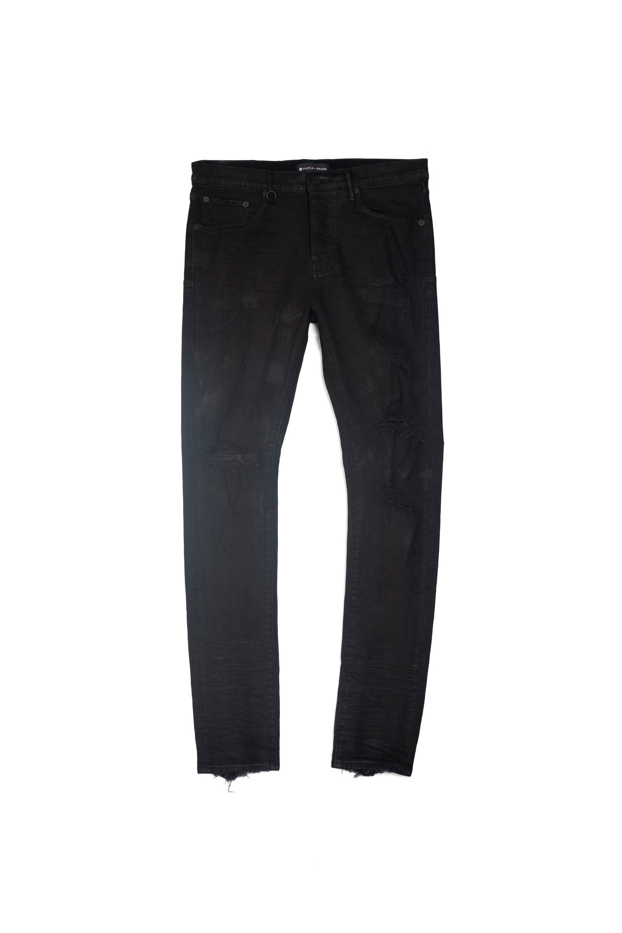 PURPLE M'S PANTS P001 LOW RISE WITH SLIM LEG - BLACK OIL SPILL