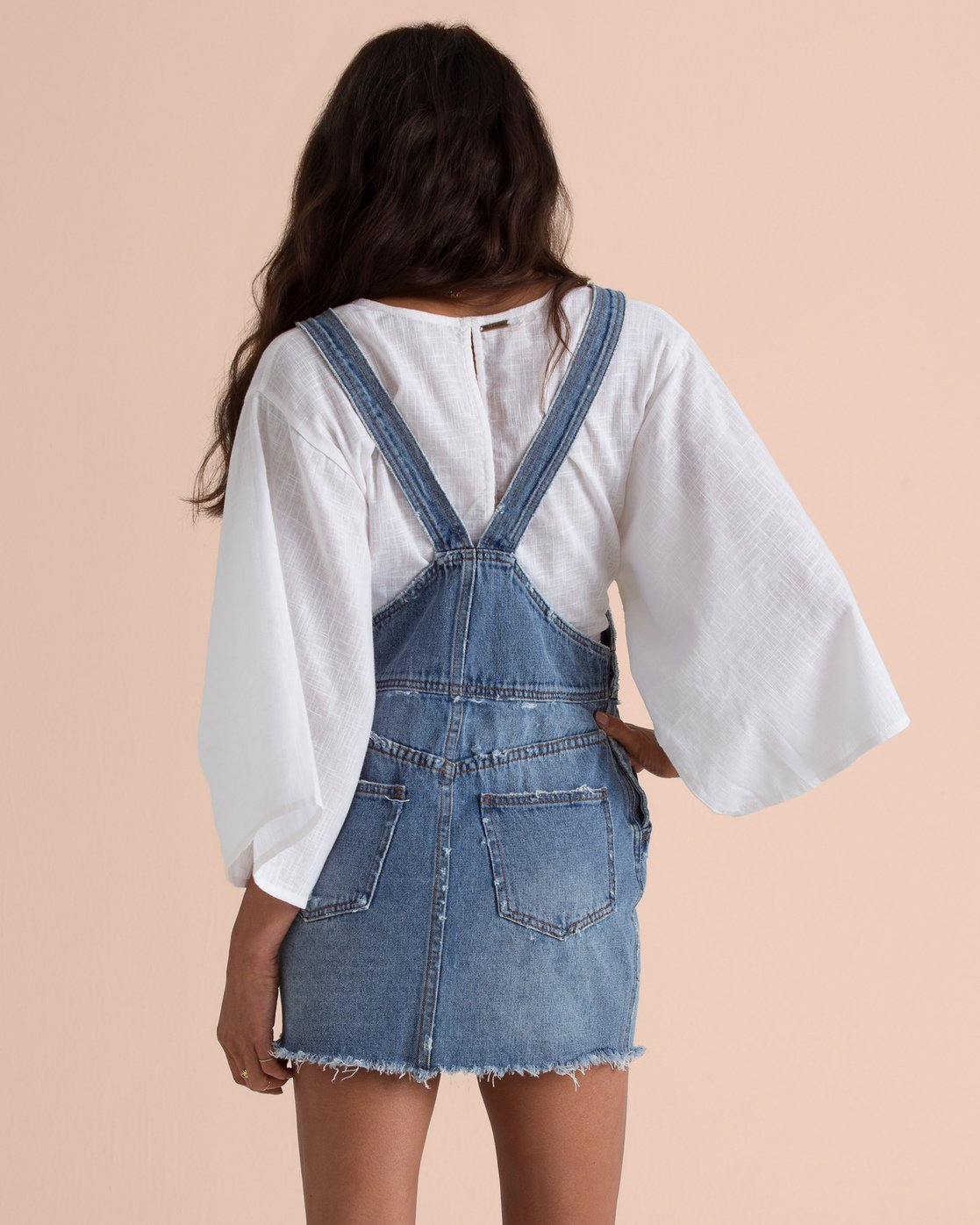 BILLABONG W'S DRESSES BILLABONG X SINCERELY JULES FADE AWAY DENIM SKIRT OVERALLS