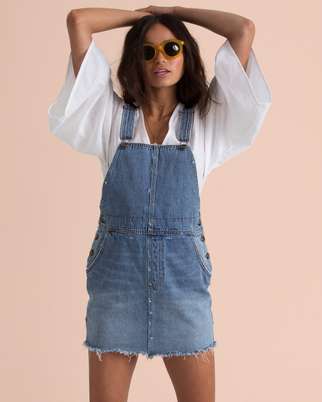 BILLABONG W'S DRESSES BEF XS BILLABONG X SINCERELY JULES FADE AWAY DENIM SKIRT OVERALLS