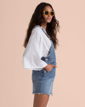 BILLABONG X SINCERELY JULES FADE AWAY DENIM SKIRT OVERALLS