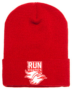 Red Adult Cuffed Knit Beanie