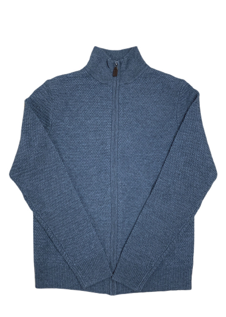 TR Textured Full Zip Sweater