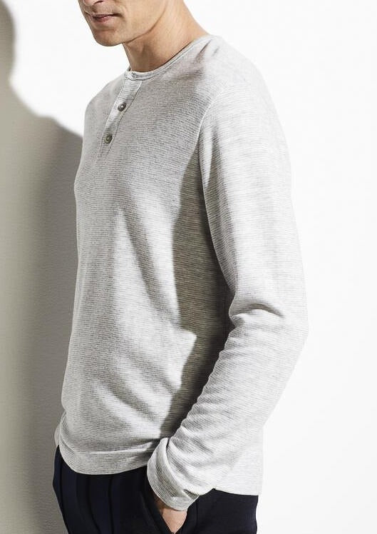 Striped Double Knit Henley