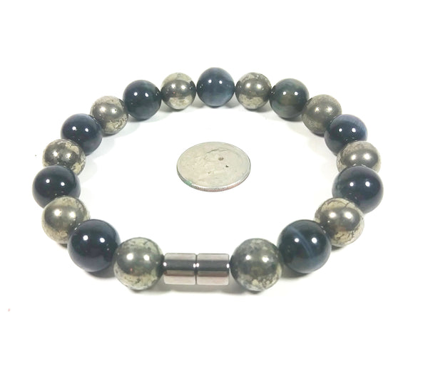 Handmade Pyrite And Blue Tiger Eye Bracelet