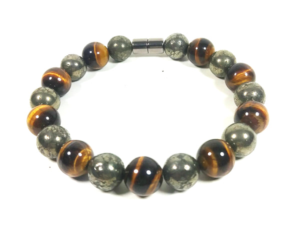 Handmade Pyrite And Yellow Tiger Eye Bracelet