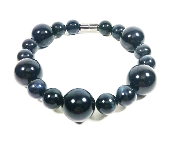 Onyx and Blue Tigers Eye Beaded Bracelet