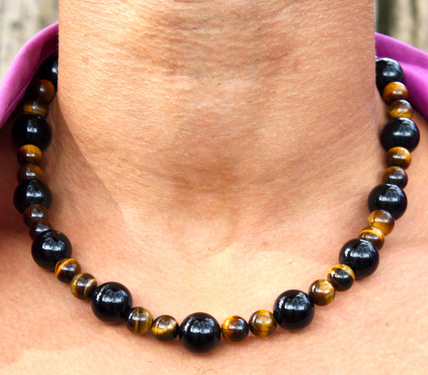 Black Onyx and Yellow Tiger Eye Necklace 19 inch