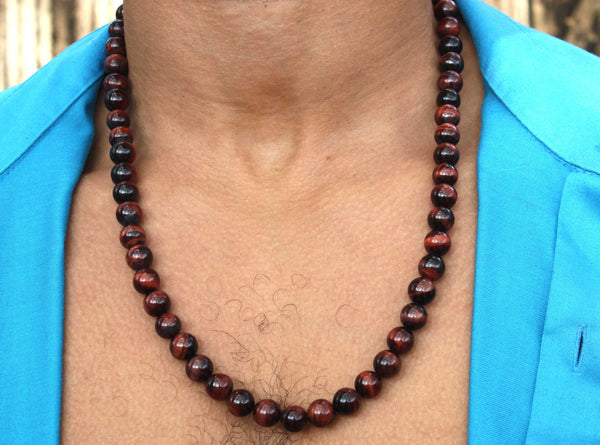 24 inch Red Tiger Eye Necklace 10mm
