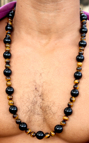 Black Onyx and Yellow Tiger Eye Necklace 30 inch