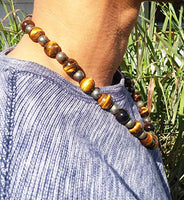 Tigers Eye and Pyrite Necklace for Men - Magnetic Clasp Necklace