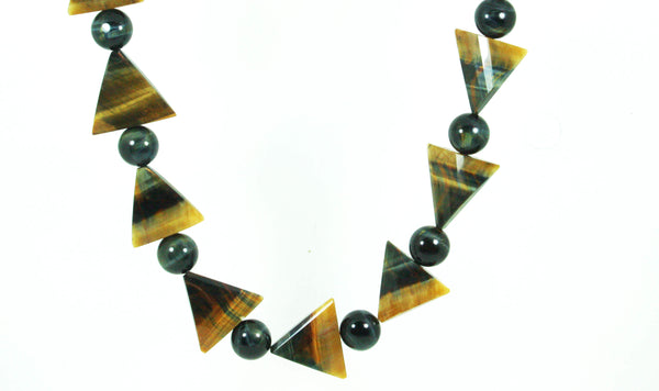 Large Tribal Necklace - Chiefs Amulet - Large Blue/Yellow Triangle Facets - 16mm Hawks Eye