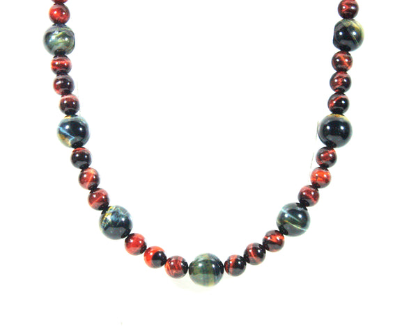 Blue Tigers Eye Necklace and Red Tigers Eye Necklace - Magnetic Clasp Necklace