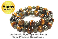 24 inch Tiger Eye and Pyrite Necklace