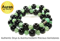 Black Onyx and Green Jade Aventurine Beaded Necklace 30 inch
