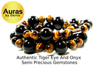Black Onyx and Yellow Tiger Eye Necklace 24 inch