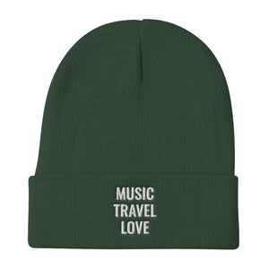 Music Travel Love Embroidered Beanie