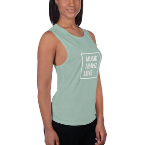 MUSIC TRAVEL LOVE Ladies' Muscle Tank