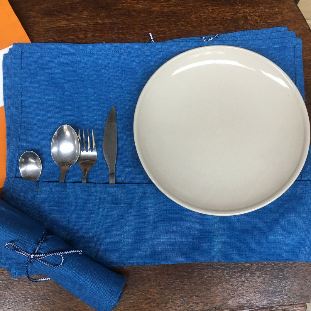 Reusable cutlery wrap - Blue