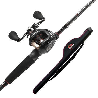 Torrent Baitcasting Fishing Rod and Reel Combo with Pole Storage Case Bag