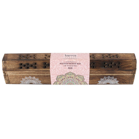 Karma rose incense wooden set