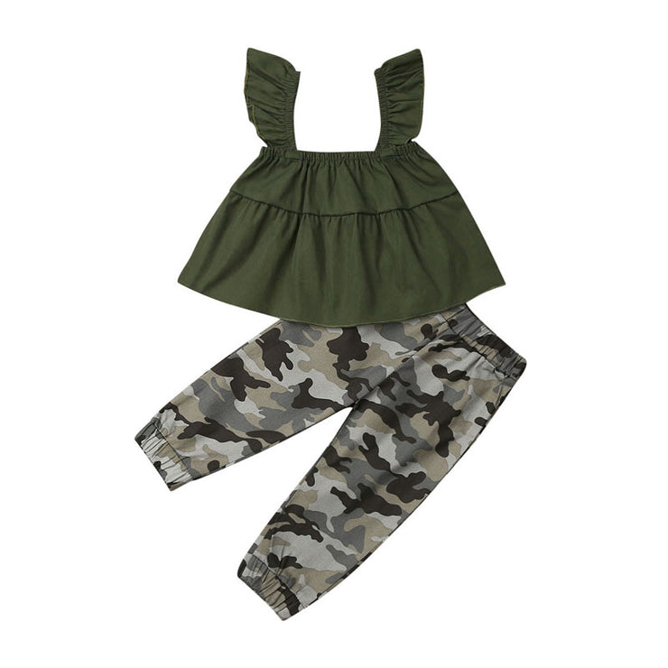 Focusnorm New Fashion 2PCS Summer Toddler Baby Girl Infant Clothes Set Top Camouflage Pants Kids Summer Outfit Set Tracksuit