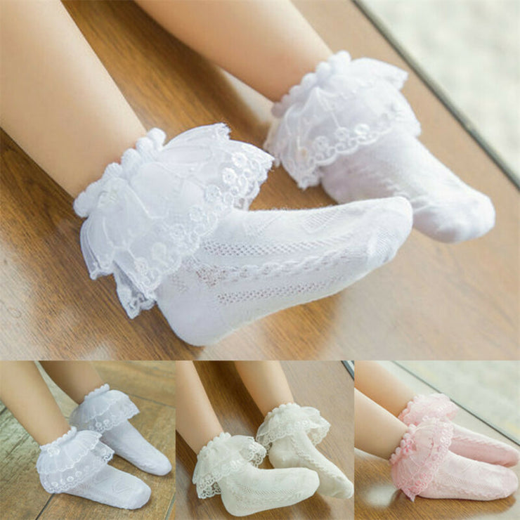 Cute Kids Baby Girls Socks Lace Ruffle Frilly Ankle Socks Princess Children Girl Lace Tutu Cotton Socks for 2-12Years