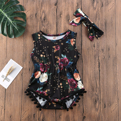 Emmababy Newborn Baby Girl Clothes Sleeveless Rose Flower Print Romper Jumpsuit Headband 2Pcs Outfits Tassel Sunsuit Clothes