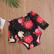 Pudcoco Newborn Baby Girl Clothes Flower Print Off Shoulder Romper Tops Tulle Mini Skirt Headband 3Pcs Outfits Cotton Clothes