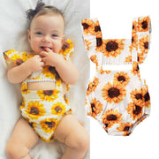 New Summer  Baby Girl Sunflower Romper Jumpsuit Overall Sunsuit One-piece