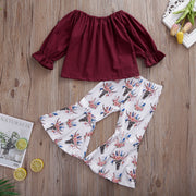 Pudcoco Toddler Baby Girl Clothes Solid Color Off Shoulder Ruffle Tops Print Bell-Bottoms 2Pcs Outfits Cotton Clothes