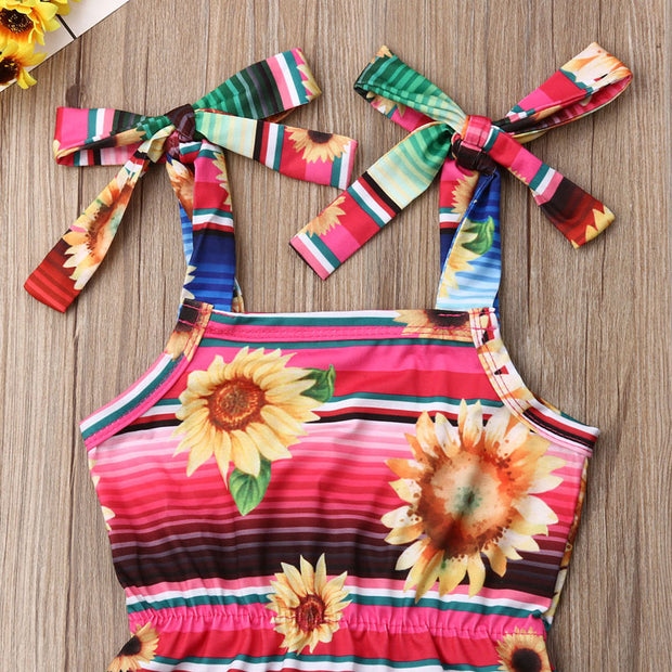 Focusnorm 0-24M Newborn Toddler Baby Girl Sunflower Bodysuit Striped Jumpsuit Summer Outfits Sunsuit
