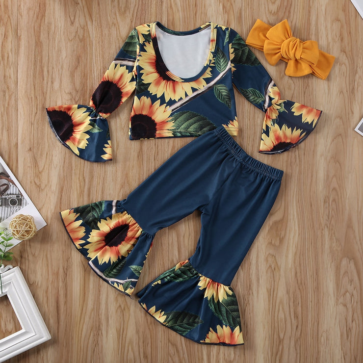 Fashion Kids Baby Girl Clothes Sunflower Outfits 3Pcs Flare Sleeve Off Shoulder Crop Tops Bell-bottoms Pants Headband 3Pcs 0-5Y