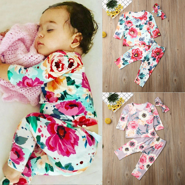 Pudcoco Autumn Newborn Baby Girl Clothes Flower Print Long Sleeve T-Shirt Tops Long Pants Headband 3Pcs Outfits Cotton Clothes