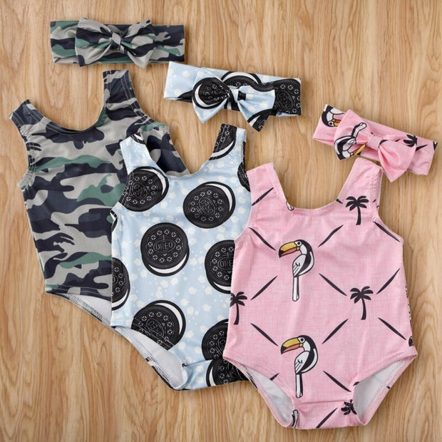 New 2Pcs Infant Baby Girls Kids Swimwear Swimsuit Swimming Costume Sunsuit Summer Clothes