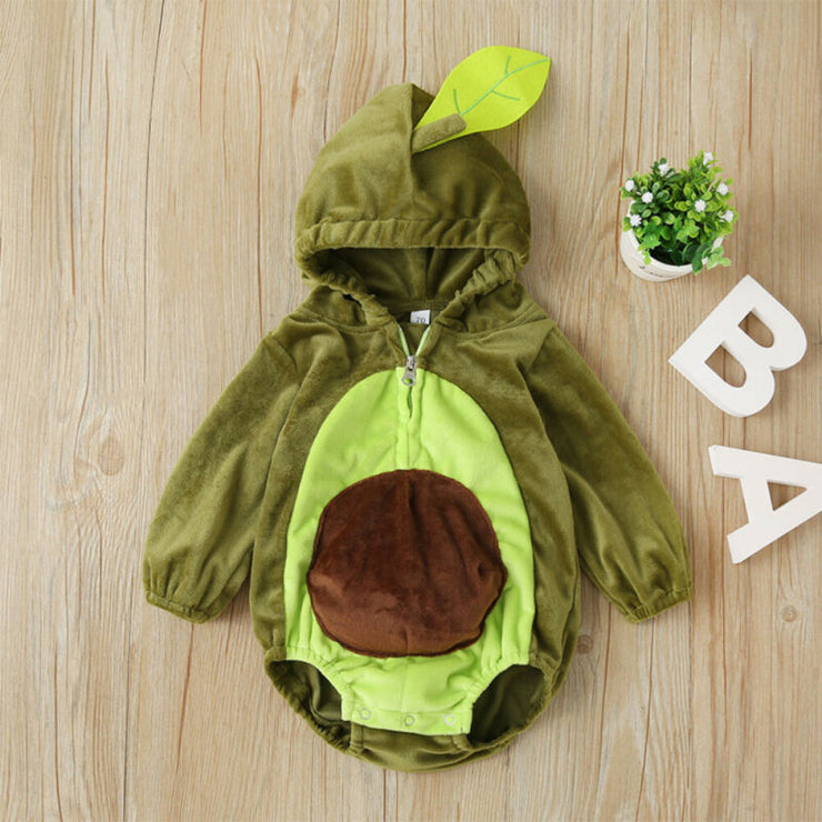 Focusnorm 0-24M Infant Kids Baby Boy Girl Winter Warm Clothes Zippered Avocado Bodysuit Jumpsuit Overall Outfits