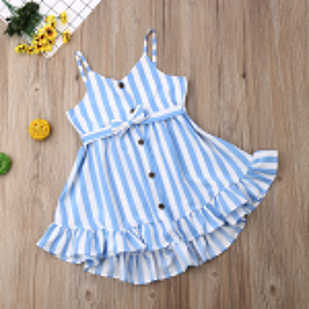 Emmababy Summer Toddler Baby Girl Clothes Sleeveless Striped Button Strap Ruffle Mini Dress Casual Clothes Summer Sundress