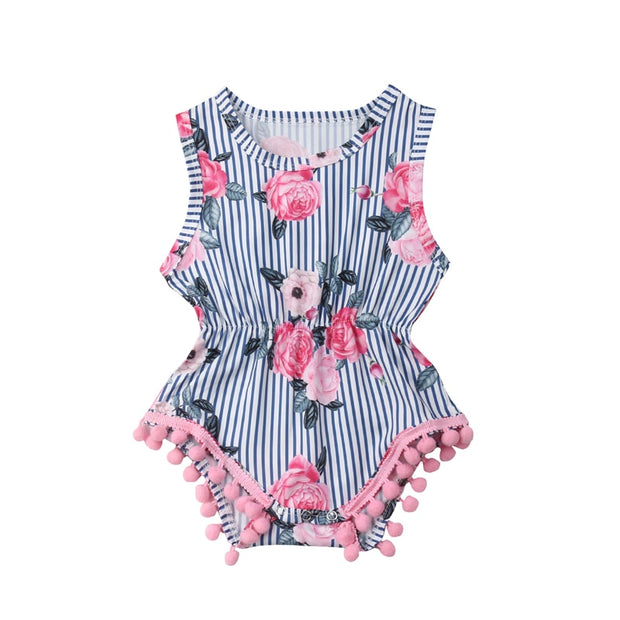 Focusnorm Newborn Toddler Infant Baby Girl Floral Romper Sleeveless Cotton Jumpsuit Clothes Outfits