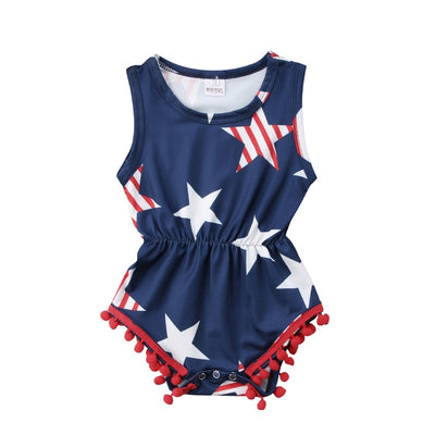Focusnorm Newborn Baby Girls Clothing Fourth of July Kids Baby Girls Star Romper Jumpsuit Playsuit Outfits